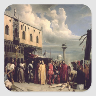 Funerary honours given to Titian who died in Venic Square Sticker