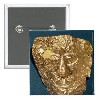 Funerary mask pinback button