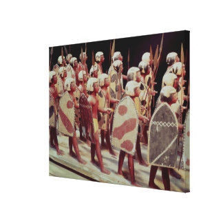 Funerary model of marching armed soldiers canvas print