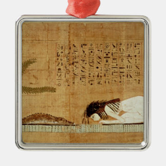 Funerary papyrus depicting square metal christmas ornament