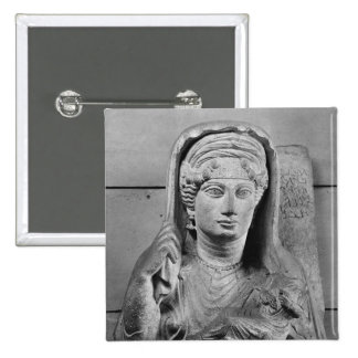 Funerary relief of mother and child from pinback button