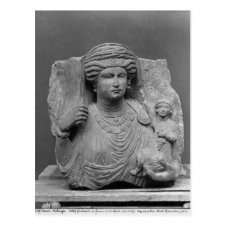 Funerary relief of mother and child from postcard