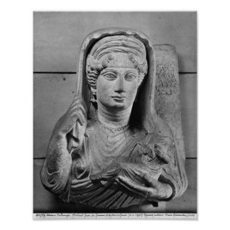 Funerary relief of mother and child from poster