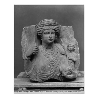 Funerary relief of mother and child from posters
