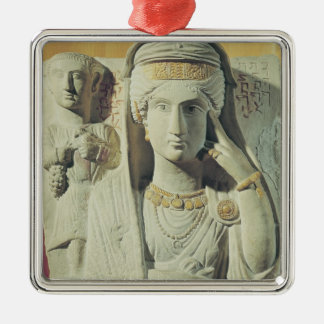Funerary relief with a female figure metal ornament