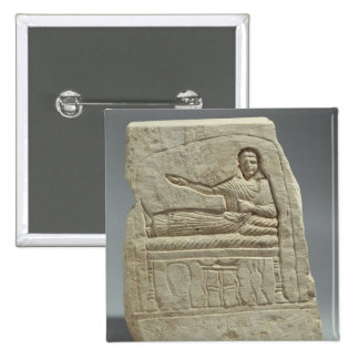 Funerary stela in the name of the lady Artemis, fr 2 Inch Square Button