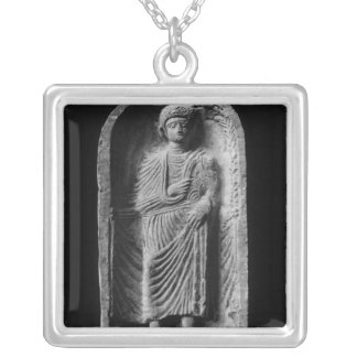 Funerary stela of a man, discovered in Palmyra Square Pendant Necklace