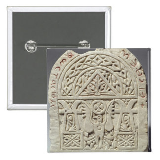 Funerary stela with a dove or eagle, 8th-9th centu pinback button