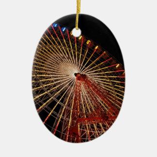 Funfair Night.jpg de la rueda grande Adorno Ovalado De Cerámica