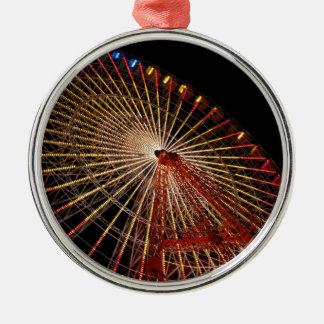 Funfair Night.jpg de la rueda grande Adorno Redondo Plateado