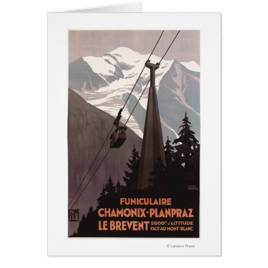Funiculaire Le Brevent Cable Car Poster Card