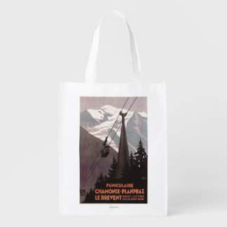 Funiculaire Le Brevent Cable Car Poster Reusable Grocery Bag