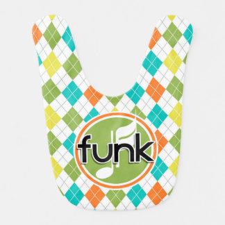Funk Music; Colorful Argyle Pattern Baby Bib
