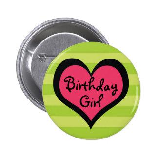 Funk Pink Heart Birthday Girl Button