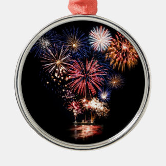 Funky 4th of July Fireworks Silver-Colored Round Decoration