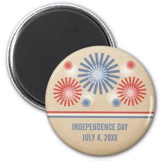 Funky 4th of July Fireworks & Stripes Magnet