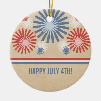 Funky 4th of July Fireworks & Stripes Ornament