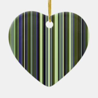 Funky 60s Retro Earth Tone Stripes Double-Sided Heart Ceramic Christmas Ornament