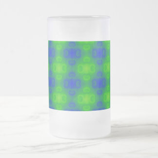 Funky 70s Abstract Pattern Neon Blue Green Blur Frosted Glass Beer Mug