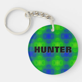 Funky 70s Abstract Pattern Neon Blue Green Blur Keychain