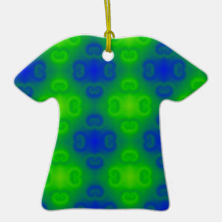 Funky 70s Abstract Pattern Neon Blue Green Blur Ornaments