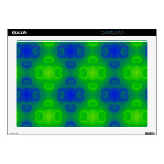 Funky 70s Abstract Pattern Neon Blue Green Blur Decal For Laptop