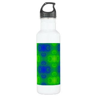 Funky 70s Abstract Pattern Neon Blue Green Blur Stainless Steel Water Bottle