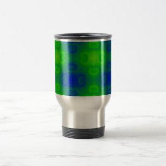 Funky 70s Abstract Pattern Neon Blue Green Blur Travel Mug