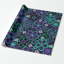 Funky 90s Glow Floral Pattern Black Green Purple Wrapping Paper