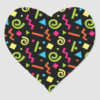 Funky 90's Retro Theme Heart Sticker