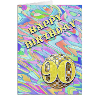 Funky abstract 90 birthday card