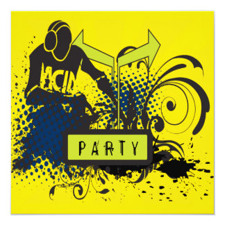 Funky Abstract Acid House DJ Party Card