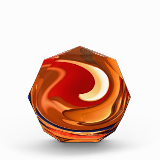 Funky Abstract Burnt Orange and Red Design Acrylic Award