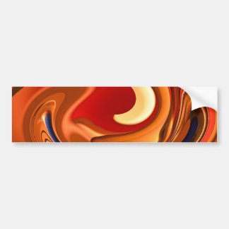Funky Abstract Burnt Orange and Red Design Bumper Sticker
