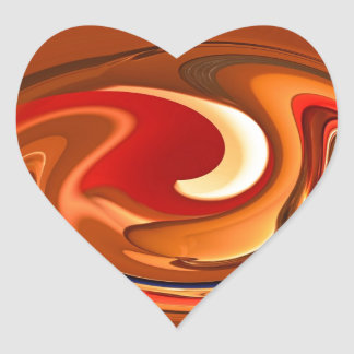 Funky Abstract Burnt Orange and Red Design Heart Sticker
