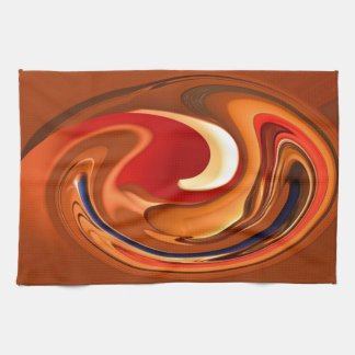 Funky Abstract Burnt Orange and Red Design Kitchen Towel