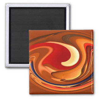 Funky Abstract Burnt Orange and Red Design Magnet