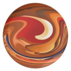 Funky Abstract Burnt Orange and Red Design Party Plates