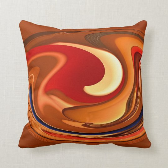 Funky Abstract Burnt Orange Red Throw Pillow Zazzle Com
