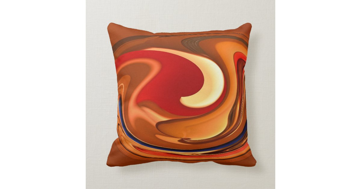 8f1c0827b66 Funky Abstract Burnt Orange Red Throw Pillow