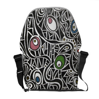 Funky Abstract Eggs Retro Messenger Bag
