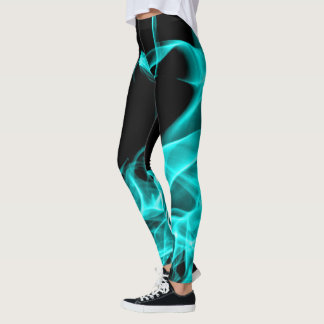 Funky Abstract Teal Blue Smoke Flumes Leggings