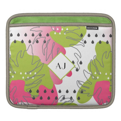 Funky Abstract Tropical Pink and Green Leaves iPad Sleeve