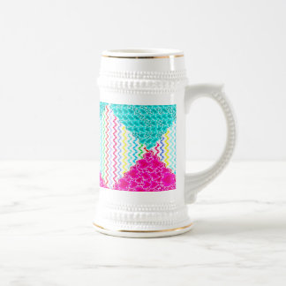 Funky Abstract Waves Ripples Teal Hot Pink Pattern Beer Stein