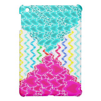 Funky Abstract Waves Ripples Teal Hot Pink Pattern Case For The iPad Mini