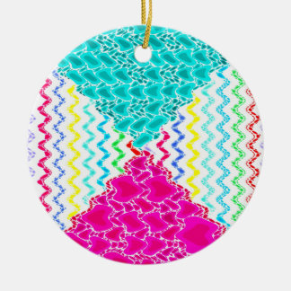 Funky Abstract Waves Ripples Teal Hot Pink Pattern Ceramic Ornament