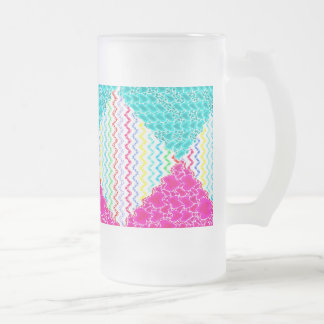 Funky Abstract Waves Ripples Teal Hot Pink Pattern Frosted Glass Beer Mug