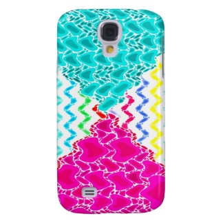 Funky Abstract Waves Ripples Teal Hot Pink Pattern Galaxy S4 Case