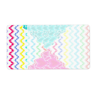 Funky Abstract Waves Ripples Teal Hot Pink Pattern Shipping Label