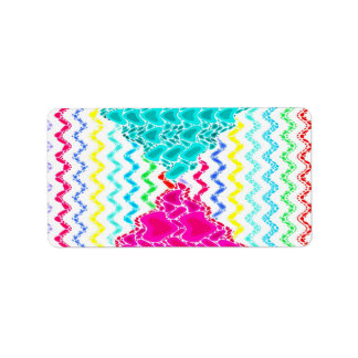 Funky Abstract Waves Ripples Teal Hot Pink Pattern Address Label
